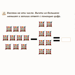 Сложение и вычитание в картинках в пределах 10
